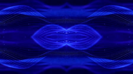 húr : 4k looped sci-fi 3d abstract background. Glow blue particles form lines, symmetrical structures like in microworld or cosmic space. For holiday presentations, ceremonies as vj loop motion design 14 Stock mozgókép