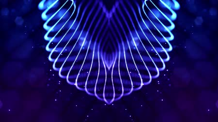 időszakos : Glow blue particles form lines, symmetrical structures like in microworld or cosmic space. 4k looped sci-fi 3d abstract background. For holiday presentations, ceremonies as vj loop motion design 1