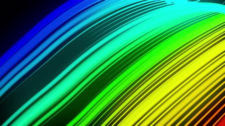 fejleszt : multi-colored neon lines of ribbon fly in the air, smoothly oscillation and wave. Lines color changes cyclically form running lights. 3d abstract looped 4k background, luma matte as alpha channel