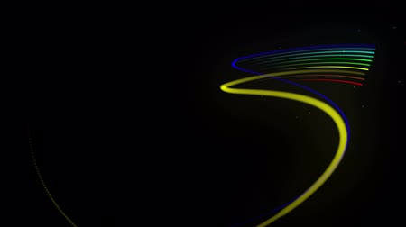 кудри : multi-colored neon lines of ribbon fly in the air, smoothly oscillation and wave. Lines color changes cyclically form running lights. 3d abstract looped 4k background, luma matte as alpha channel