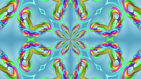 4k seamless looped abstract background with multi-colored stripes are twisted between themselves and rotate in a circle forming complex structures like kaleidoscope effect