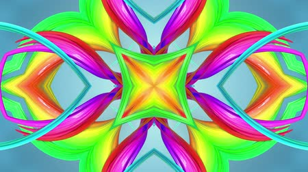 4k seamless looped abstract background with multi-colored stripes are twisted between themselves and rotate forming complex structures as kaleidoscope effect.