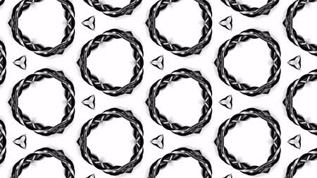 вспышка : 4k seamless looped animation of black and white pattern with ribbons are twisted and formed complex circular structures like symmetric ornament pattern or kaleidoscopic