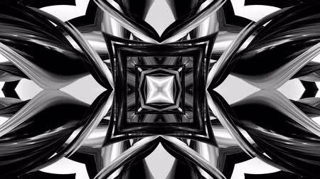 harmonie : 4k seamless looped animation of black and white pattern with ribbons are twisted and formed complex circular structures as symmetric ornament pattern or kaleidoscopic in motion.