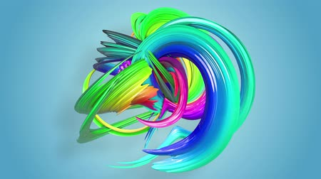 Fantastic beautiful ribbons of rainbow color twisted and bent, colorful creative background with soft smooth animation of lines and color gradients in 4k. Vídeos