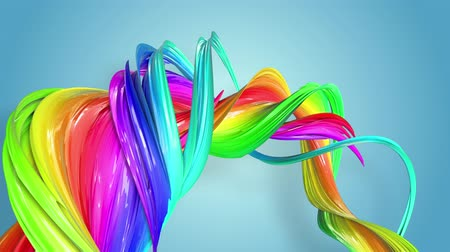 esplêndido : Fantastic beautiful ribbons of rainbow color twisted and bent, colorful creative background with soft smooth animation of lines and color gradients in 4k. Stock Footage