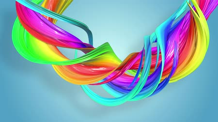 Fantastic beautiful ribbons of rainbow color twisted and bent, colorful creative background with soft smooth animation of lines and color gradients in 4k. Stok Video
