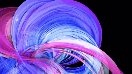 abstract multicolored transparent ribbons move around on a black background. Motion graphics 3d looped background with red blue ribbons. Luma matte as alpha channel. 23