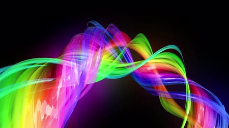 оптический : Motion graphics 3d looped amazing background with multicolor colorful rainbow ribbons. Transparent colored lines with a neon glow on a black background.