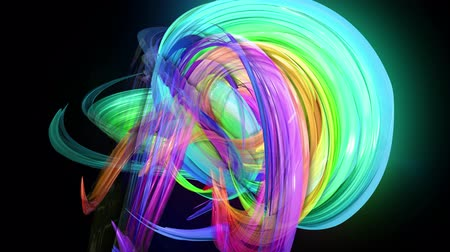 harmonie : Motion graphics 3d looped amazing background with multicolor colorful rainbow ribbons. Transparent colored lines with a neon glow on a black background.