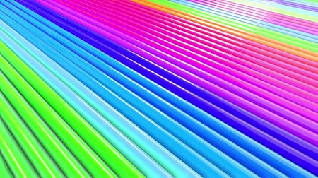 Abstract 3d seamless bright rainbow colors background in 4k. Multicolored gradient stripes move cyclically in simple cartoon creative style. Looped smooth animation in 4k. Stok Video