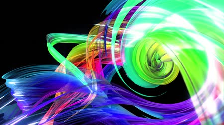 abstract background of transparent beautiful ribbons moving in circle, twisted lines, looped 3d animation with rainbow gradient colors transitions in glass ribbon. Close up 16 Stok Video