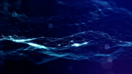 looped blue animated abstract sci-fi background with wavy glow particles like micro world, cosmic space or digital big data, blockchain, point nodes connection. Digital grid