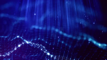 looped blue animated abstract sci-fi background with wavy glow particles like micro world, cosmic space or digital big data, blockchain, point nodes connection. Composition with rays and grid