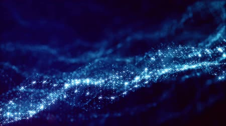 looped blue animated abstract sci-fi background with wavy glow particles like micro world, cosmic space or digital big data, blockchain, point nodes connection. Mesh surface Stok Video