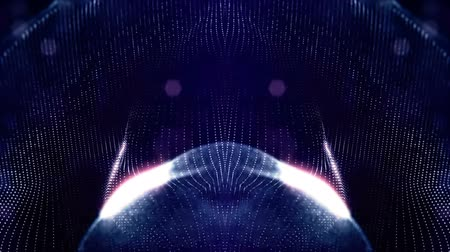 looped blue animated abstract sci-fi background with wavy glow particles like micro world, cosmic space or digital big data, blockchain, point nodes connection. Circular symmetrical structure 2