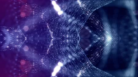 tecnológica : looped blue animated abstract sci-fi background with wavy glow particles like micro world, cosmic space or digital big data, blockchain, point nodes connection like web