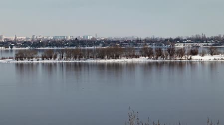 freedom tower : river in winter Stock Footage