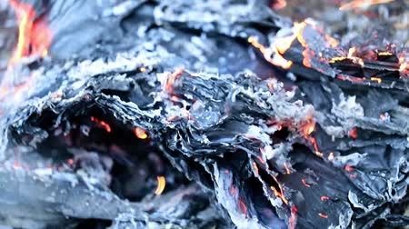 antique grunge : burning paper documents Stock Footage