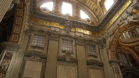 art : ROME- APRIL 2018: Interior of St. Peters Basilica, Vatican, Italy dolly shot