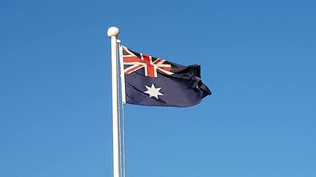 north korean flag : Australia Flag Waving in Air of South Korea.
