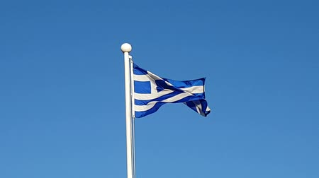 north korean flag : Greece Flag Waving in Air of South Korea. Stock Footage