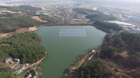 ulsan : Solar power generator on Gacheon Reservoir, Uljugun, Ulsan, South Korea, Asia