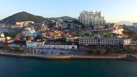 jeollanamdo : Aerial View of Angel Mural Village Park, Yeosu, Jeollanamdo, South Korea Asia Stock Footage