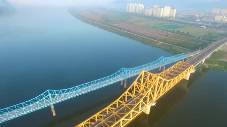 water rail : Aerial View of Namji Cheolgyo Railroad, Gyeongnam, South Korea, Asia Stock Footage
