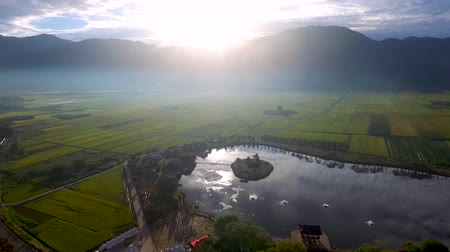 reservoir : Aerial View of Dongjeongho Lake in Akyang Rice Paddy Field, Hadong, Gyeongsangnamdo, South Korea, Asia Stock Footage