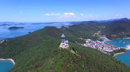 jeollanamdo : Aerial View of Ttangkkeut Observatory, Haenam, Jeollanamdo, South Korea, Asia. Ttangkkeut means the end of the land.