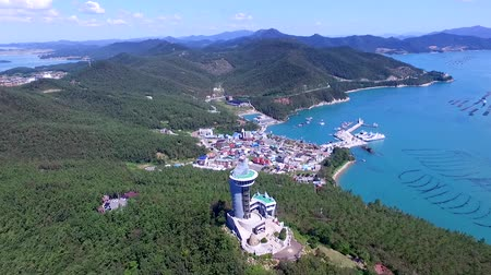 kaapstad : Aerial View of Ttangkkeut Observatory, Haenam, Jeollanamdo, South Korea, Asia. Ttangkkeut means the end of the land.