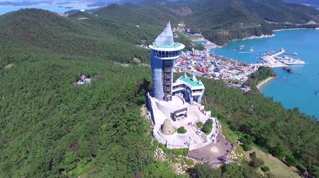 promontory : Aerial View of Ttangkkeut Observatory, Haenam, Jeollanamdo, South Korea, Asia. Ttangkkeut means the end of the land.