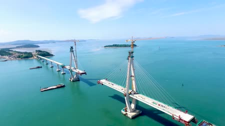 jeollanamdo : Constructing Chilsandaegyo Bridge on the Sea, Yeonggwang, Jeollanamdo, South Korea, Asia.