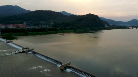 merdiven : Aerial View of Miryang River, Gyeongnam, South Korea, Asia Stok Video