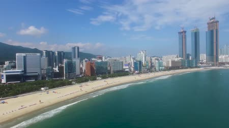 parasol : Aerial View of Summer Haeundae Beach ,, Busan, South Korea Asia