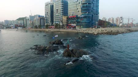 heykel : Korean Flag Waving on the Sea of Gwangalli, Busan, South Korea, Asia.
