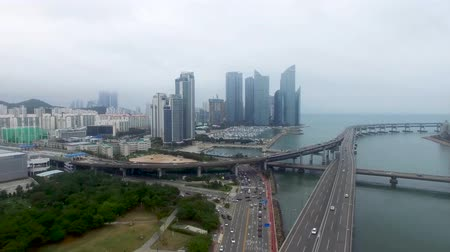 bulutluluk : HyperLapse Traffic of Centum City in Haeundae, Busan, South Korea, Asia. Stok Video