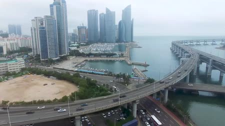 busz : HyperLapse Traffic of Centum City in Haeundae, Busan, South Korea, Asia. Stock mozgókép
