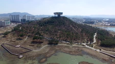 jeollanamdo : Aerial View of Bitgaram Observatory, Naju, Jeonnam, South Korea, Asia Stock Footage