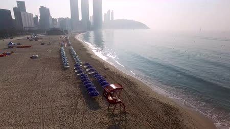 metropolitano : Morning of Summer Haeundae Beach, Busan, South Korea, Asia.