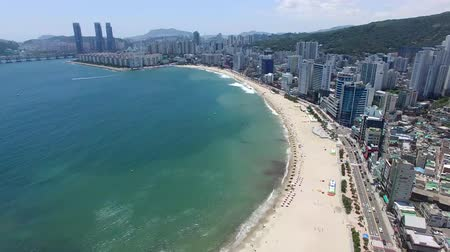 parasol : Aeril View of Sunny Summer Gwangalli Beach, Busan, South Korea, Asia..