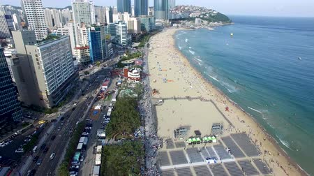dalgakıran : Aerial View of Sunny Summer Haeundae Beach, Busan, South Korea, Asia