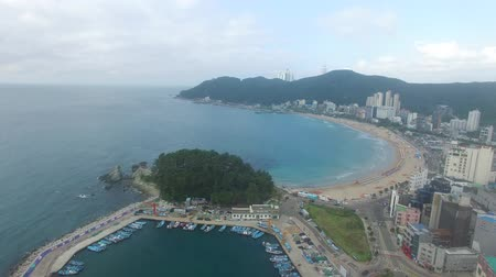 parasol : Aerial View of Songjeong Beach, JeongGwan, Gijang, Busan, South Korea, Asia