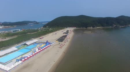 meio dia : Aerial View of Summer Dadaepo Beach, Busan, South Korea, Asia. Vídeos