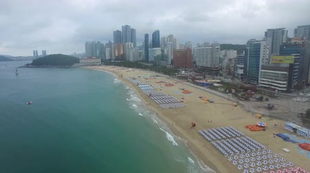 parasol : Aerial View of Cloudy Summer Morning of Haeundae Beach, Busan, South Korea, Asia