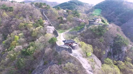 chosun : Aerival View of Geumseong Mountain Fortress, Damyang, Jeonnam, South Korea, Asia. Stock Footage