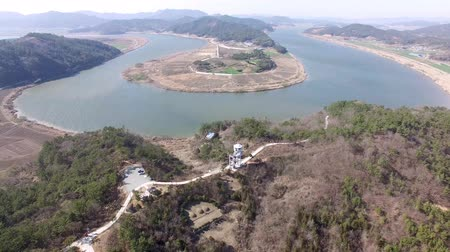 observatory : Aerial View of Naju Neuleoji Observatory, Naju, Jeonnam, South Korea. Stock Footage