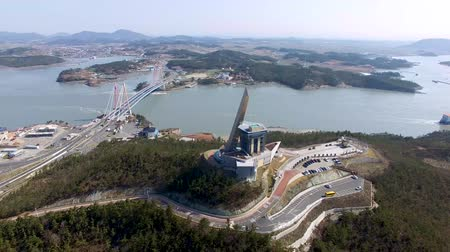 jeollanamdo : Aerial View of Jindo Tower and Jindodaegyo, Jindo, Jeonnam, South Korea, Asia
