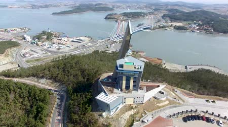 efsane : Aerial View of Jindo Tower and Jindodaegyo, Jindo, Jeonnam, South Korea, Asia